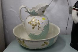 Late 19th/early 20th century jug and bowl, green and gilt pattern, bowl 39 cm diameter,