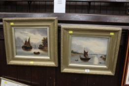 Two late 19th century oil paintings by F Bentley - boats on a river