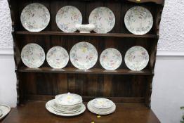 J & G Meakin Chiltern pattern part dinner service, ashettes, tureens, dinner plates,