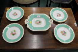 Late 19th/early 20th century dessert service, 6 plates and tazza, gilt and floral design.