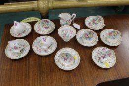 Royal Albert Nosegay pattern part tea set, 9 cups and saucers,