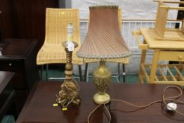 Two table lamps with gilt bases