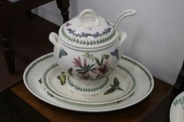 Large Portmeirion tureen with ladle and cover, height 30 cm and two large Portmeirion ashettes,