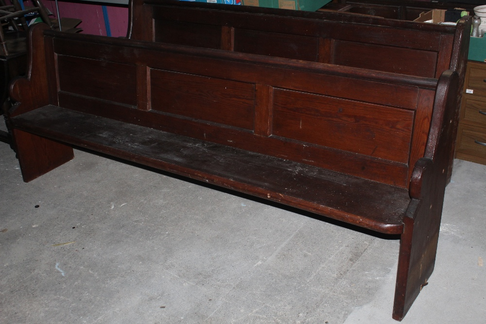 A pitch pine church pew, with triple pan