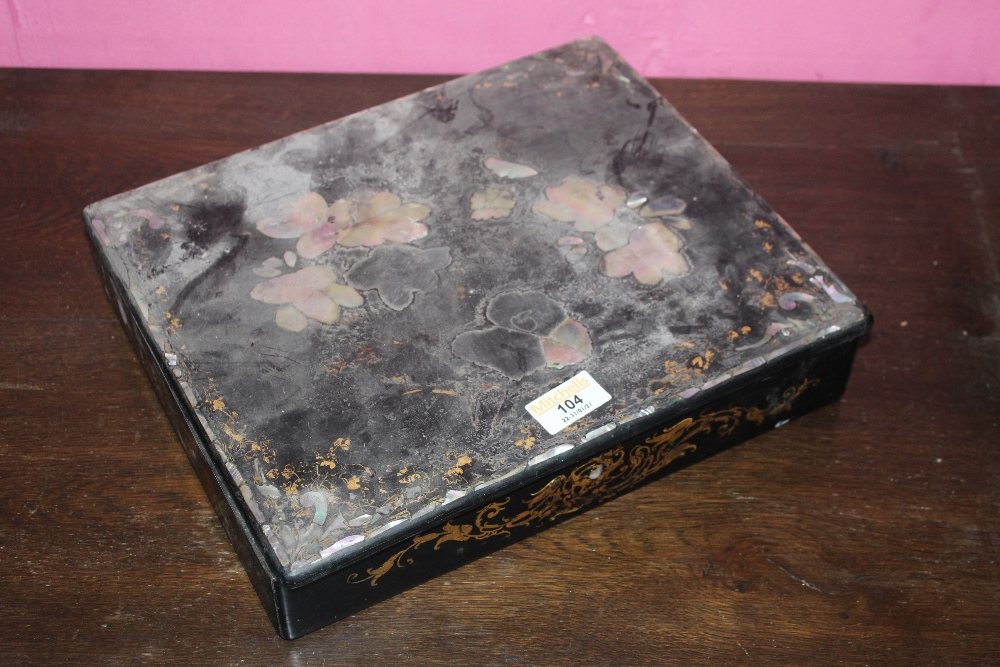 A Victorian Mother of Pearl inlaid papie