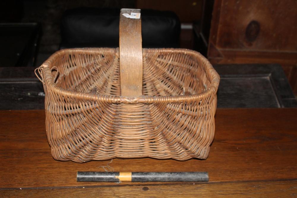 A Vintage woven wicker basket, together