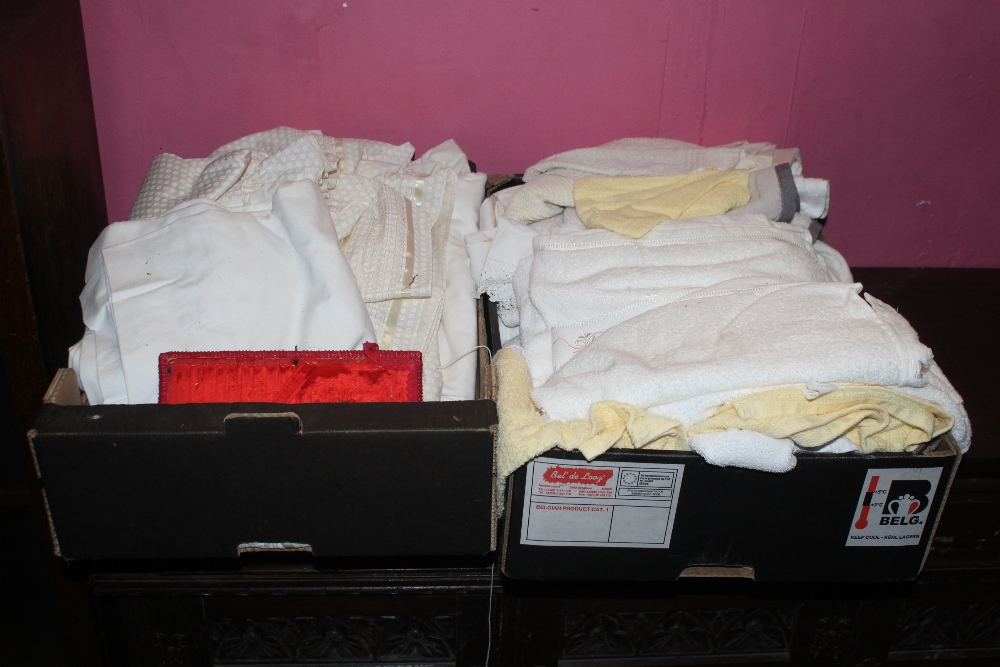 Two boxes of miscellaneous soft goods, t