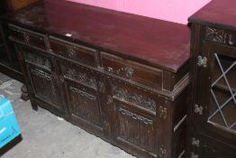 Am oak linen fold dresser base, in the p