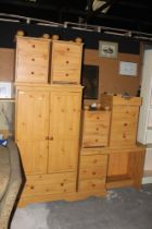 A modern pine effect six piece bedroom s
