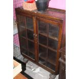 A glazed oak display case or bookcase, c