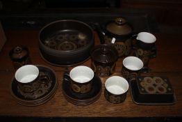 A box of Denby Arabesque dinner ware.