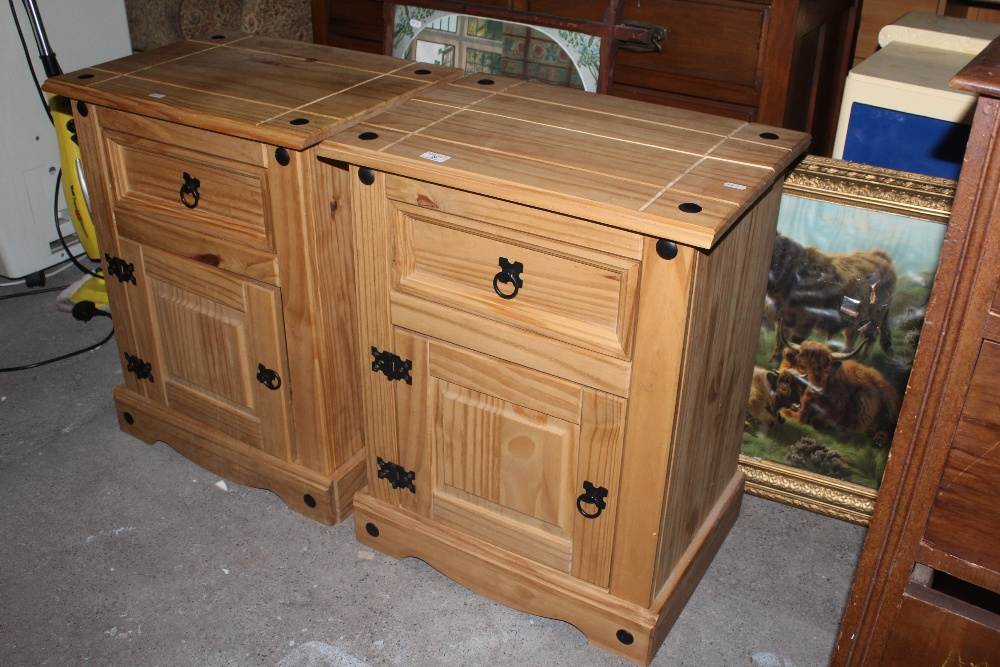 A pair of imported Mexican pine bedside