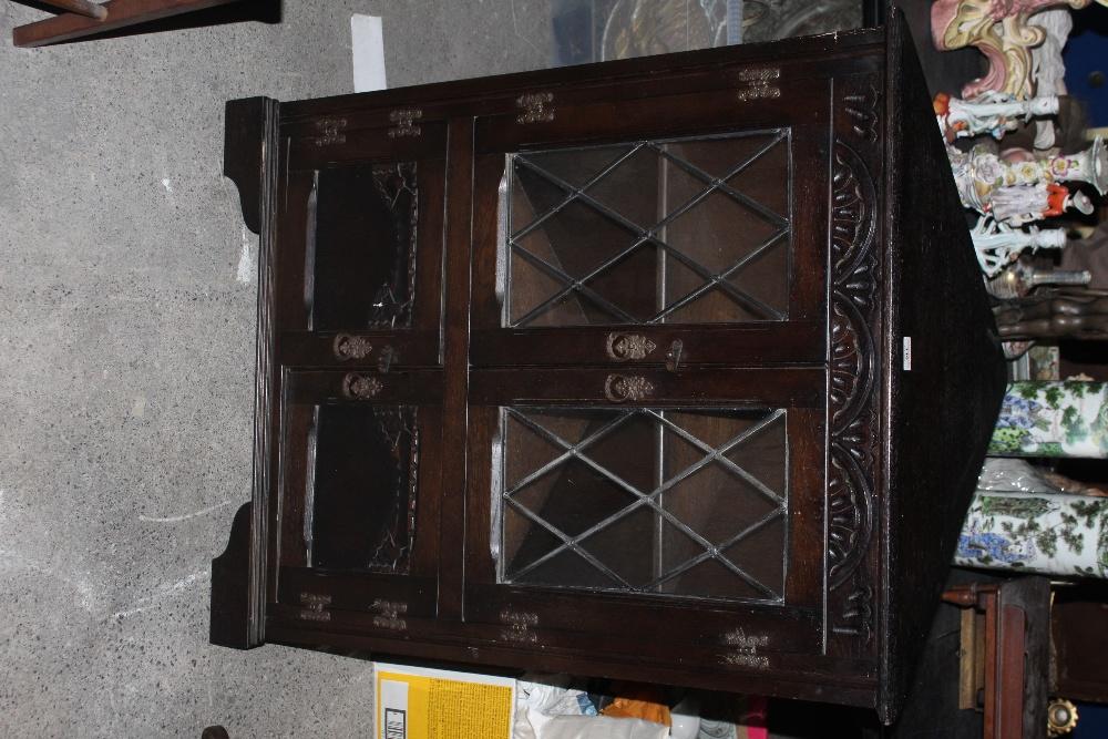 A stained oak glazed corner cupboard, in - Image 2 of 2