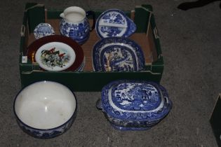 A box of miscellaneous blue and white an
