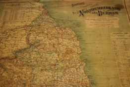 A linen Bacon's 20th century map of Nort
