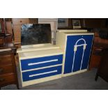 A 1930's Art Deco blue and white painted