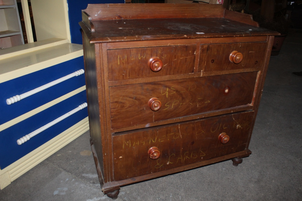 A Victorian painted pine 2/2 chest of dr