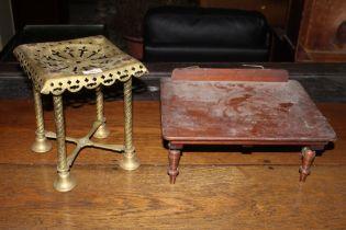 A Victorian pierced brass trivet of squa