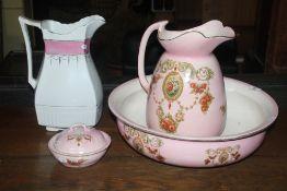 A Victorian pottery 3 piece toilet set,