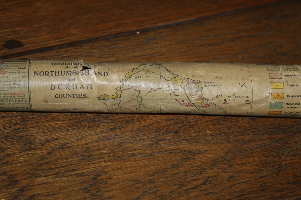 A Victorian linen scroll map of Northumb - Image 3 of 3