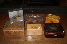 An embossed leather sewing box, together
