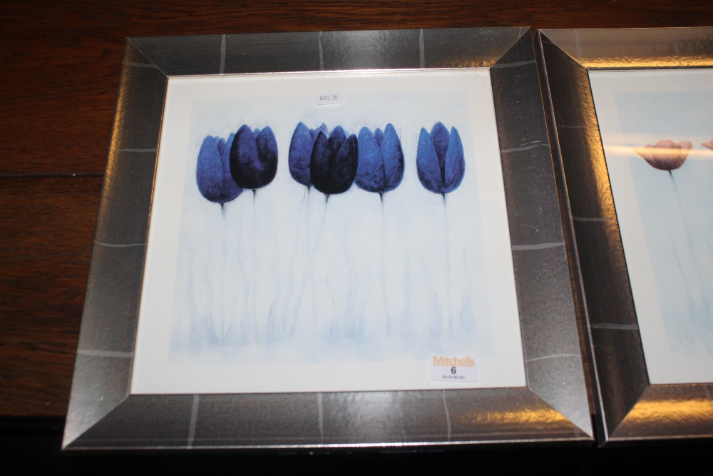 Two decorative floral prints, in silvere - Image 2 of 3