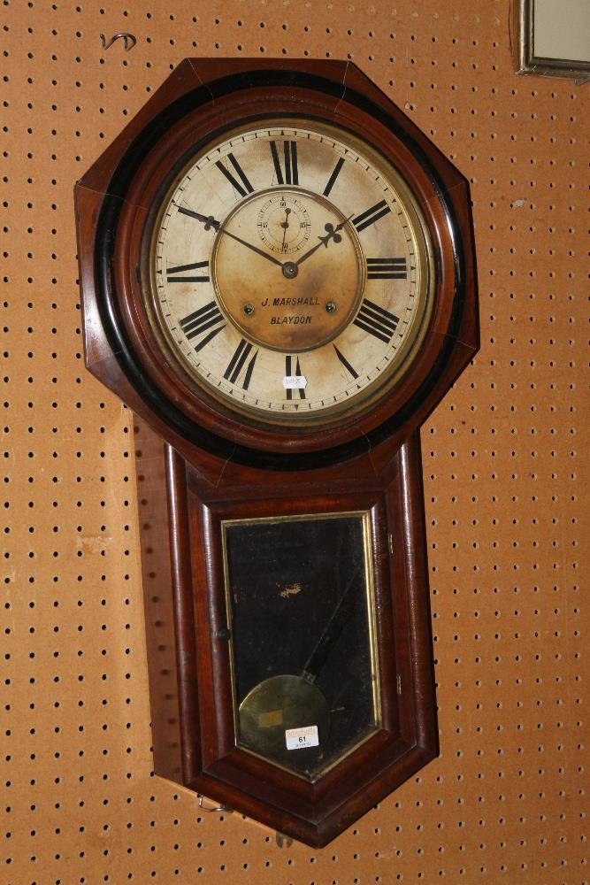 A Victorian drop dial mahogany regulator