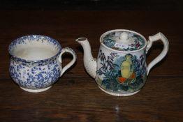 A Victorian pottery butterfly pattern te