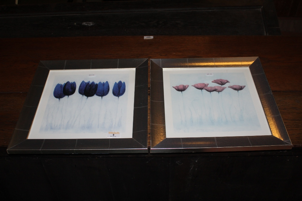 Two decorative floral prints, in silvere