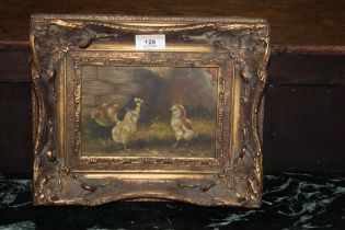 A 20th century oil on metal panel, of fo