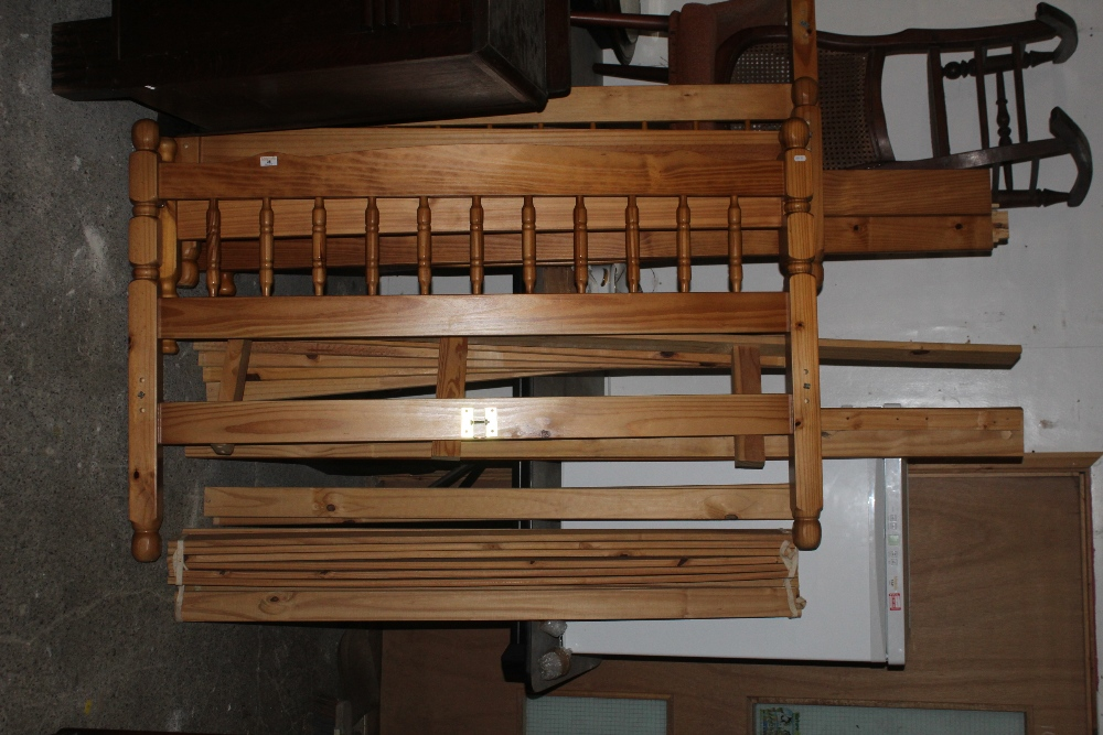 Two modern pine double beds, of standard