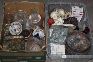 Two boxes of miscellaneous glass and chi