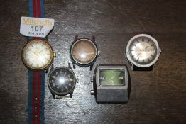 A group of five vintage wristwatches, to