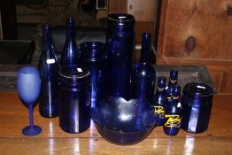A collection of modern Bristol blue glas