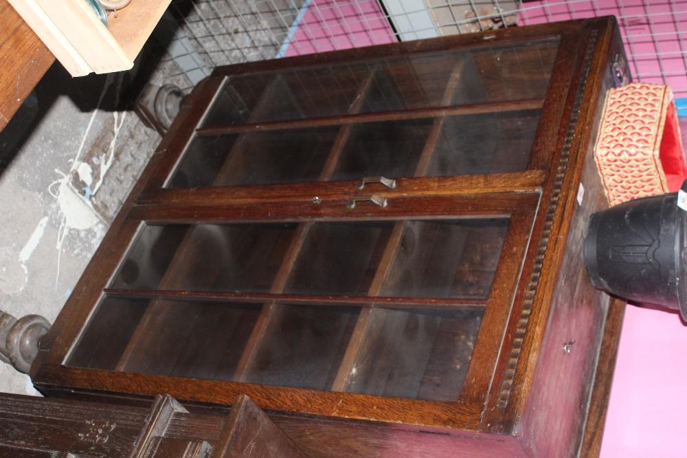 A glazed oak display case or bookcase, c - Image 2 of 2