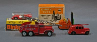 A group lot of diecast, comprising a Dinky 14 C Coventry Climax forklift truck,