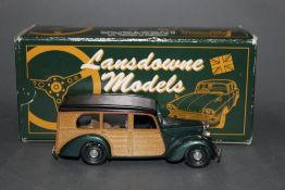 A Lansdowne Models 1/43 scale 1950 Lea Francis estate four door model car in original box.
