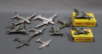 A group lot of diecast model fighter planes, comprising a Dinky 735 Gloster Javelin fighter,