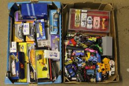 Two boxes of mixed diecast model vehicles, including boxed Corgi and Solido,