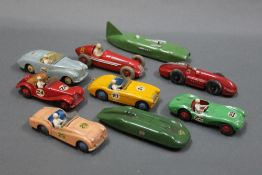 A group lot of 9 Dinky racing cars, comprising a 107 Sun Beam Alpine, a 108 MG Midget,