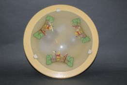 A vintage Winnie the Pooh glass ceiling light fitting, diameter 36 cm.