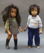 Two 1970's vinyl Sasha dolls with brown hair