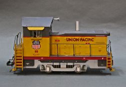 "A USA trains G-Scale Union Pacific ""Mighty Moe"", two Union Pacific cargo vans,"