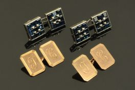 A pair of gents Art Deco 9ct gold cuff links, the rectangular faces engraved with the letters C J,