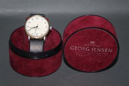 A gentleman's vintage George Jensen Bo Bonfils mechanical wrist watch,