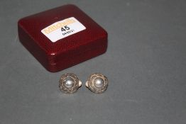 A pair of vintage George Jensen silver leaf pattern clip on earrings, design number 74,