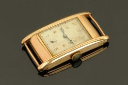 A gents Art Deco 9ct gold cased tank style wrist watch,