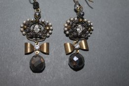 A pair of Vivian Westwood gilt metal paste marquisette and simulated seed pearl earrings of coronet