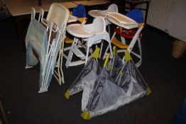 A group of 5 high chairs, or child's fee