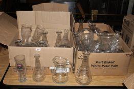 4 boxes of miscellaneous hotel glassware